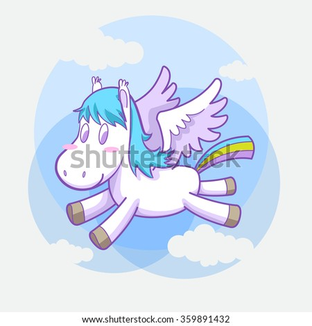 mystical cute pegasus vector