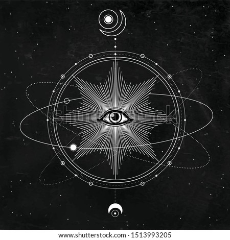 Mystical drawing: All-seeing eye, orbits of planets, energy circle. Sacred geometry. Alchemy, magic, esoteric, occultism. Background - black star sky. Vector illustration. Print, poster, T-shirt, card