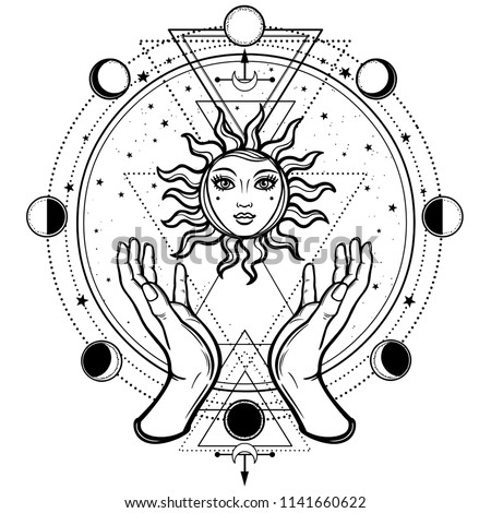 Mystical drawing: human hands hold the sun. Circle of a phase of the moon. Sacred geometry. Vector illustration isolated on a white background. Print, potser, t-shirt, card.
