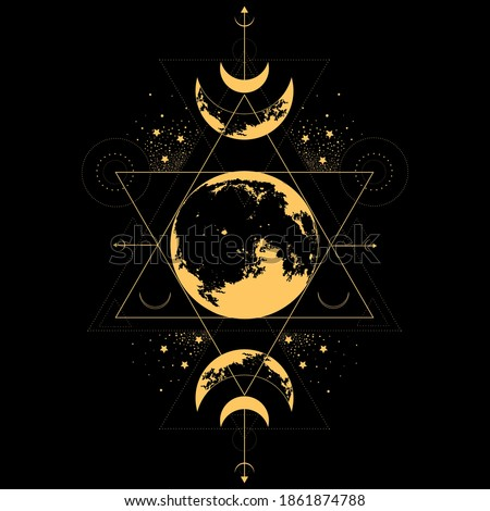 Mystical drawing of the moon. Sacred golden geometry. Alchemy, magic, esoteric, occultism. Abstract mystic sign. Gold linear shape. ストックフォト ©