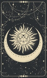 Mystical drawing of the sun with a face, tarot cards, boho illustration, magic card. Golden sun with closed eyes on a black background with stars. Vector hand drawing