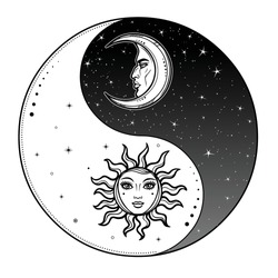 Mystical drawing: Stylized sun and moon with human face, day and night. Zen symbol. Ying yang sign of harmony and balance. Monochrome Vector Illustration isolated on a white background