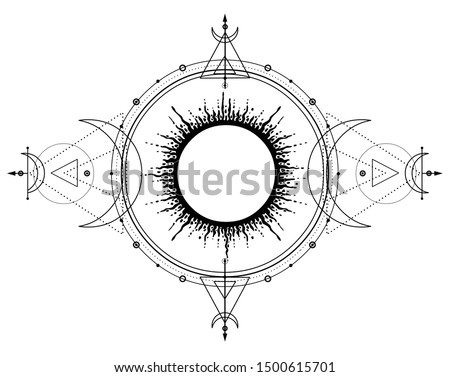 Mystical drawing: sun system, moon phases, orbits of planets, energy circle. Sacred geometry. Alchemy, magic, esoteric, occultism. Monochrome Vector Illustration isolated on a white background