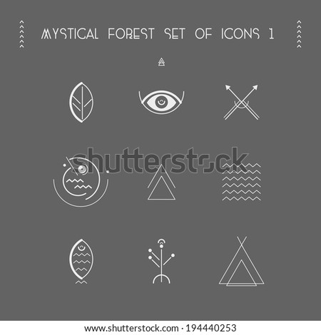 mystical forest set of icons