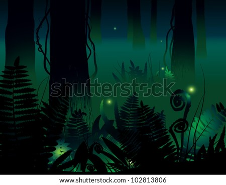 Mystical forest. The vector illustration of mythical forest in the night.