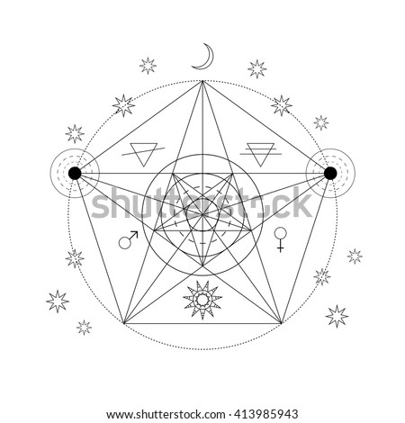 Mystical geometry symbol. Linear alchemy, occult, philosophical sign. For music album cover, poster, flyer, sacramental logo design. Astrology, imagination, creativity, superstition, religion concept.