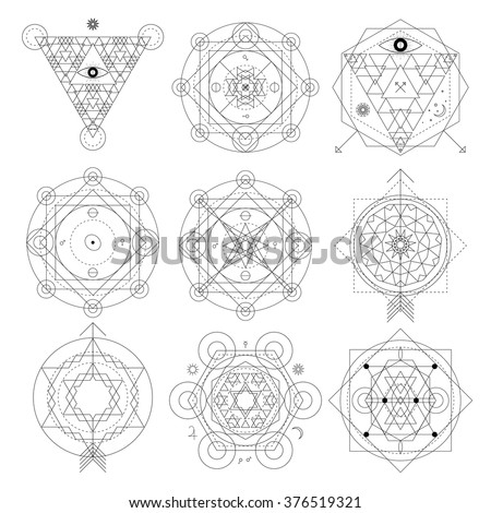 Mystical geometry symbols set. Linear alchemy, occult, philosophical sign. For music album cover, poster, flyer, logo design. Astrology, imagination, creativity, superstition, religion concept.