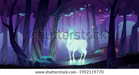 Mystical glowing deer silhouette in dark forest at night. Vector cartoon fantasy illustration of stag soul, spirit of woodland and protector of wildlife. Magic beautiful reindeer in woods