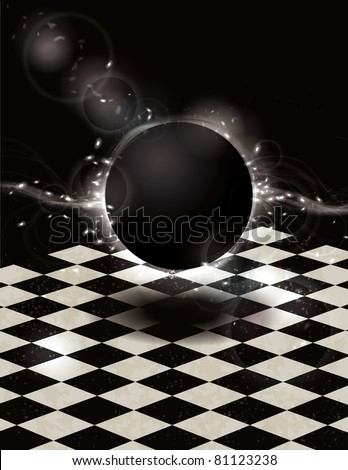 Mystical glowing light effect black orb on checkered background