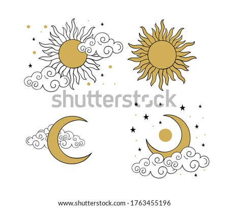 Mystical golden boho tattoos with sun, crescent, stars and clouds. Linear design, hand-drawing. Set of elements for astrology, mysticism and fortune telling. Vector illustration on a white background