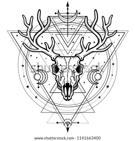 Mystical image of the  skull a horned deer, sacred geometry, symbols of the moon. Esoteric, paganism, occultism.Vector illustration isolated on a white background. Print, potser, t-shirt, card.