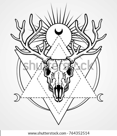 Mystical image of the  skull of a horned deer, sacred geometry, symbols of the moon. Black drawing isolated on a gray background. Vector illustration. Print, potser, t-shirt, card.
