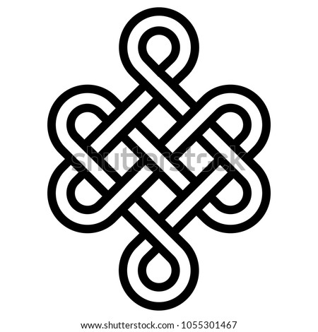Mystical knot of longevity and health, a sign of good luck Feng Shui, vector the infinity knot, health symbol tattoo
