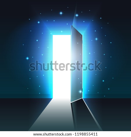 Mystical light from the open door of a dark room, abstract glowing exit, background, open door template, mock up