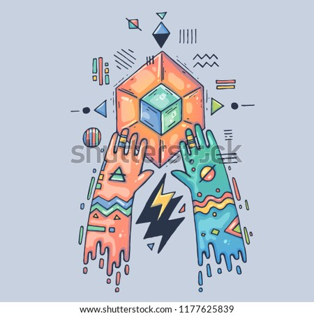 Mystical rite, geometric magic. Hands over the magic crystal. Cartoon illustration for print and web. Character in the modern graphic style. Trendy style.