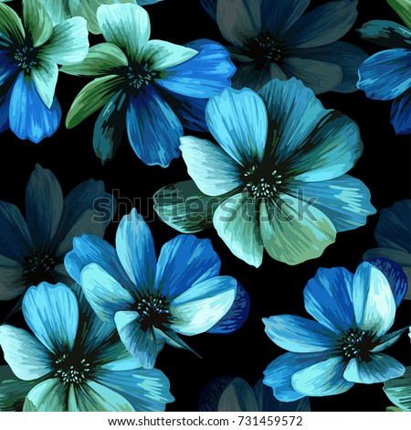 Stock Photo Mystical seamless pattern with beautiful blue flowers on a black background.
