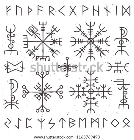Mystical viking runes. Ancient pagan talisman, norse rune symbol amulet of odin magic helm for witchcraft. Mysticism awe ethnic ancient island north culture or tattoo sketch vector isolated icon set