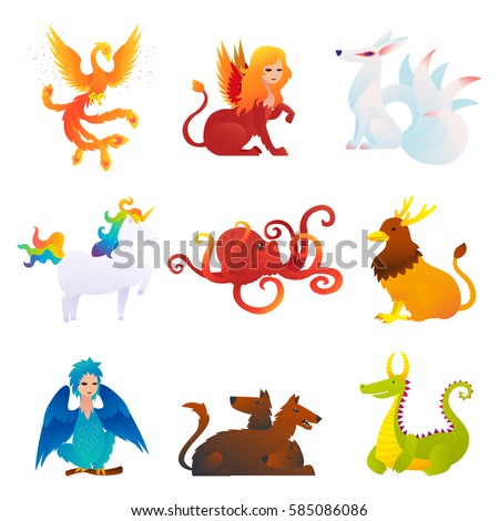 Stock Photo Mythical and fantastic creatures set with phoenix sphinx kitsune unicorn kraken griffin harpy cerberus dragon isolated vector illustration