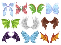 Mythical animal wings set, decorative creature sign or emblem. Hybrid creatures in fantasy folklore. Vector wings cartoon illustration isolated on white background