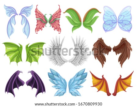 Mythical animal wings set, decorative creature sign or emblem. Hybrid creatures in fantasy folklore. Vector wings cartoon illustration isolated on white background Stock photo ©
