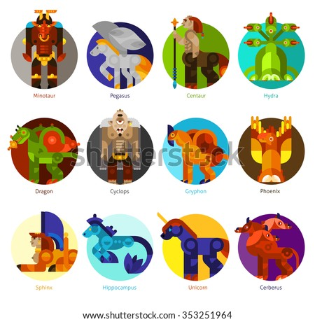 mythical creatures flat icons