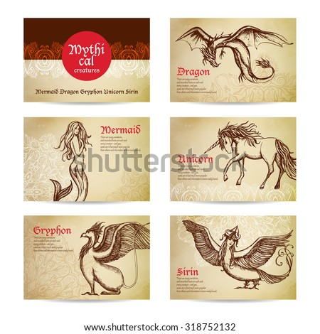 mythical creatures hand drawn