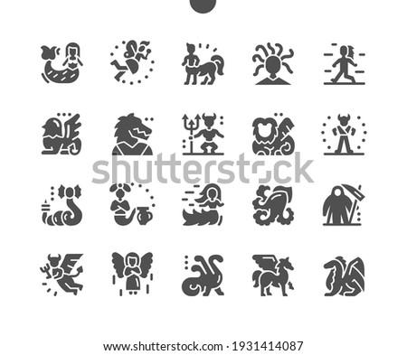 Mythical creatures. Mermaid, fairy, centaur, gorgon medusa, yeti, minotaur, daemon, angel, pegasus and dragon. Mythology character, fairytale, mystic and magic. Vector Solid Icons. Simple Pictogram Stock fotó ©