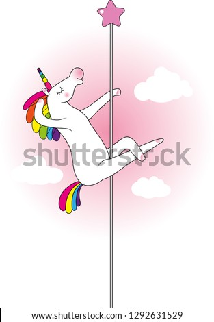 Mythical funny creature unicorn as pole dancer Сток-фото ©