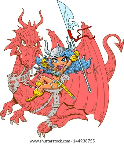 Stock Photo Mythical Girl Dragon Rider with Sword and Spear