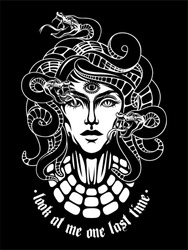 mythological character medusa gorgon dark illusitration snakes hair woman face t shirt text backhround