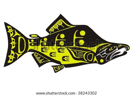 Mythological image salmon Vector