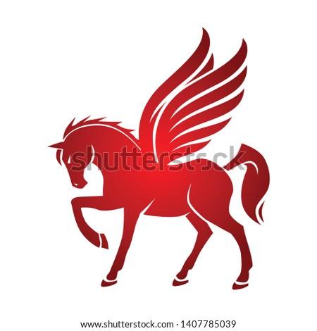 mythological pegasus horse logo