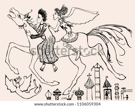 mythological riders gallop over