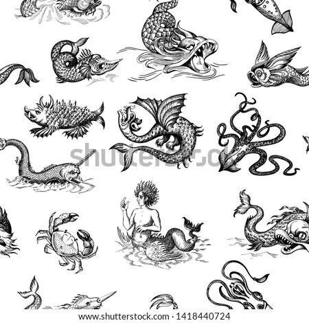 mythological vintage sea