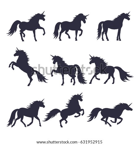 Mythology illustrations set of unicorns silhouette in different poses. Vector pictures of medieval black horses