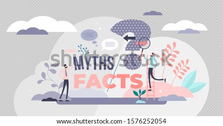 Myths and facts vector illustration. Information accuracy in flat tiny persons concept. Fake news versus trust and honest data source. Fiction authenticity research and checking. Verify rumors scene. Photo stock ©