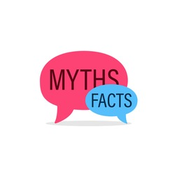 Myths Facts speech bubble concept design. Clipart image.