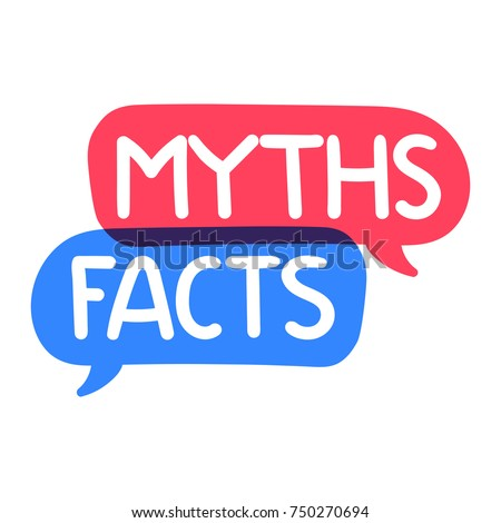 Myths, facts. Vector hand drawn illustration on white background.