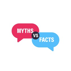 Myths vs Facts speech bubble concept design. Clipart image.