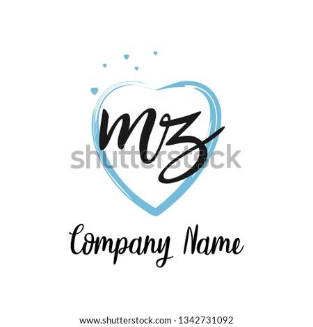 MZ initial signature logo. handwriting logo template vector, Stock fotó ©