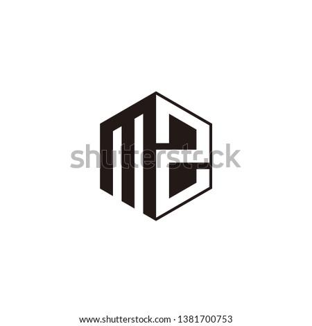 MZ Logo Initial Monogram Negative Space Designs Modern Templete with Black color and White Background Stock fotó ©