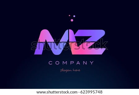 mz m z creative color blue background pink purple blue magenta alphabet letter company logo vector icon design Stock fotó ©
