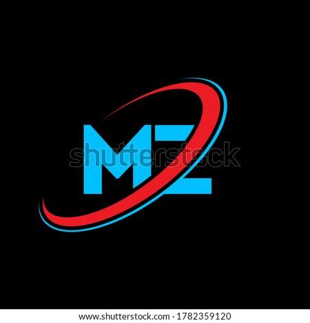 MZ M Z letter logo design. Initial letter MZ linked circle uppercase monogram logo red and blue. MZ logo, M Z design. mz, m z Stock fotó ©