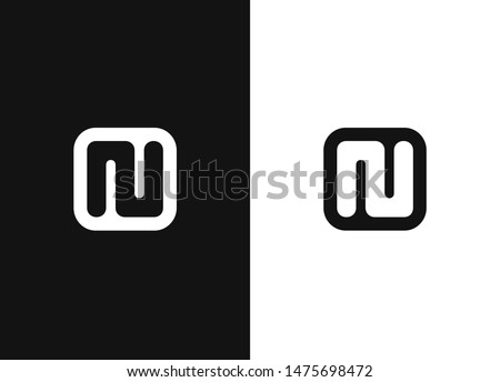 N alphabet inspiration icon in square rounded shape. Monogram of the initial letters NU. Simple black and white vector illustration icon in a modern style. Black white version element. Foto stock ©