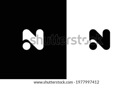 N alphabet letter logo icon in black and white. Stock fotó ©