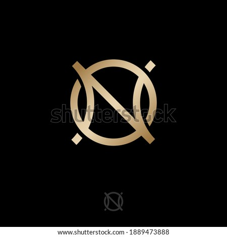 N and O gold monogram letters. Abstract, luxury logo. Logo can be used for business, jewelry shop, clothes, web icon. Stock fotó ©