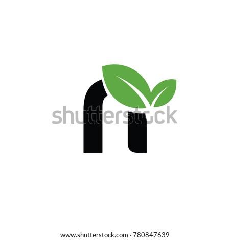 n font logo leaf vector logo template
