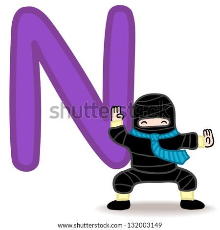 N for ninja and necktie. Letter for funny alphabet. Stock fotó ©