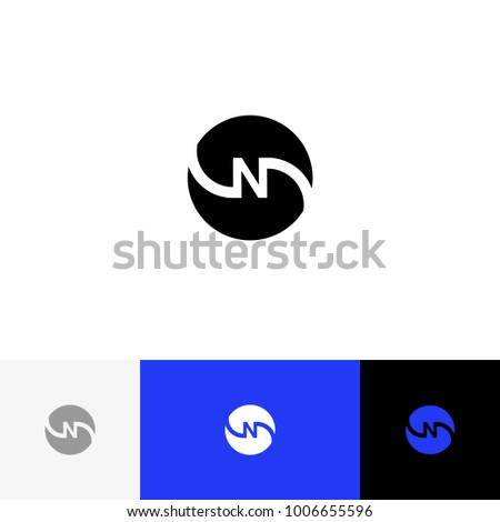 N in circle  vector. Minimalism logo, icon, symbol, sign from inversion letters n. Flat logotype design with blue color for company or brand. Foto stock ©