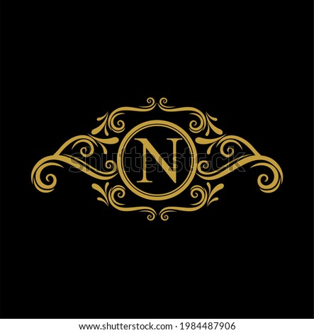 N Initial Letter Luxury Golden Monogram Logo with Frame Ornament for Boutique, Beauty Spa, Hotel, Resort, Restaurant, Jewelry, cosmetic Logo Design. Initial Golden Wedding Marriage Sign Foto stock ©